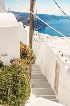 Typical little street in santorini in greece in cyclades
