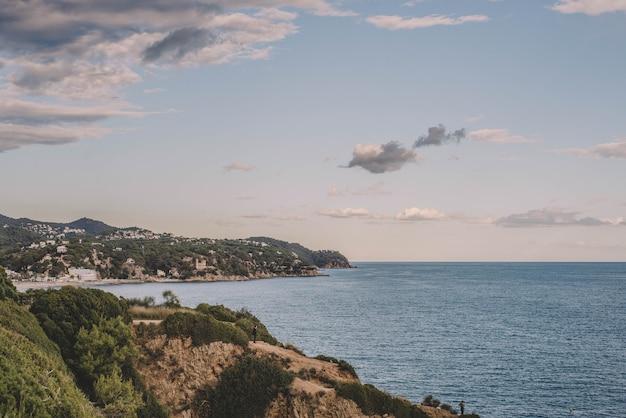 Typical mediterranean beach in a town on the costa brava