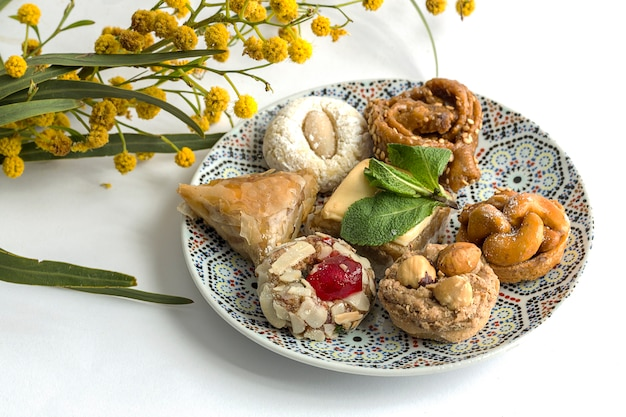 Typical moroccan sweets. homemade.isolated