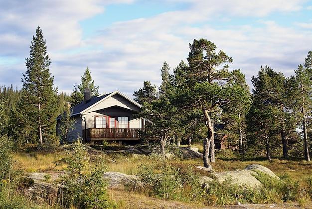 ノルウェーの典型的なノルウェーの田舎のコテージ。息をのむような風景と美しい緑に囲まれています