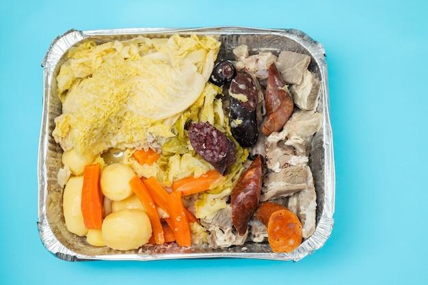 Typical portuguese dish cozido a portuguesa in box take away