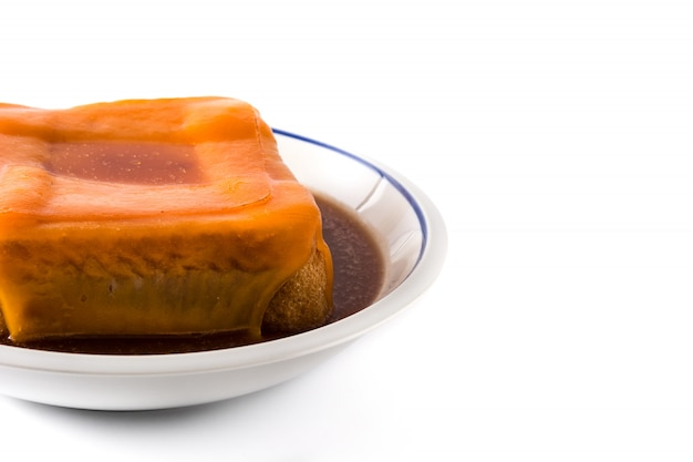 Typical portuguese francesinha sandwich isolated on white, copy space
