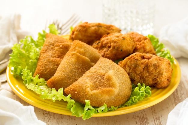 Typical portuguese snack ricoes de carne
