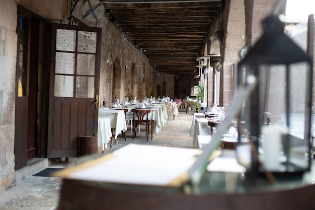 Typical restaurant terrace ready to receive diners