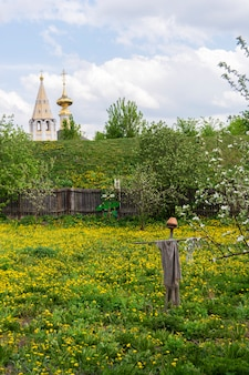 Typical russian landscape. scarecrow from birds in the garden. church in the distance. suzdal, russia.