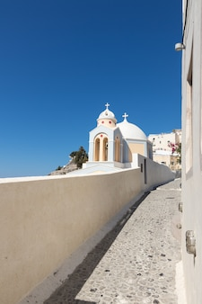 Typical santorini church in greece in the cyclades