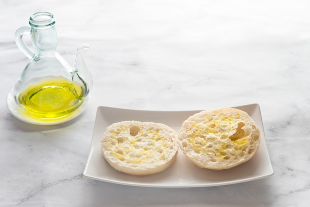 Typical spanish breakfast with bread and oil
