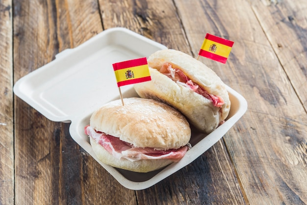 Typical spanish breakfast with bread and serrano ham