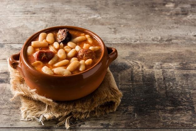 Typical spanish fabada asturiana
