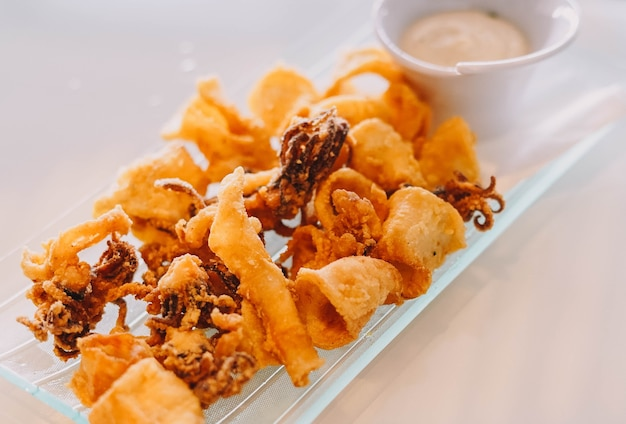 Typical spanish portion of fried squid