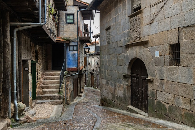 Typical street in the historic town of miranda del castanar. spain.