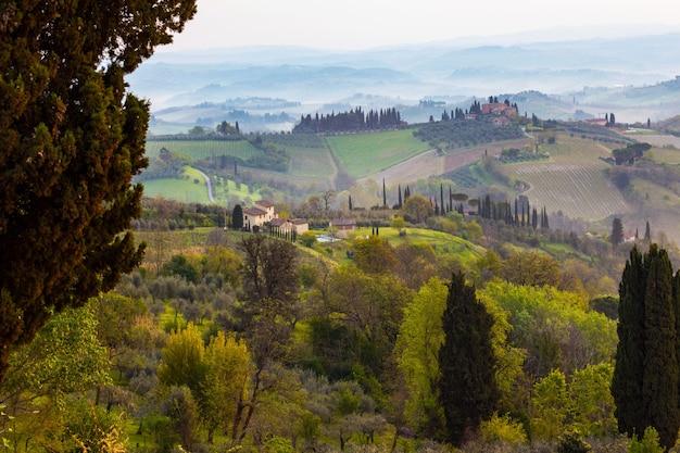 典型的なトスカーナの風景-丘の上の別荘、ヒノキの路地、ブドウ園のある谷、シエナ県の景色。イタリア、トスカーナ
