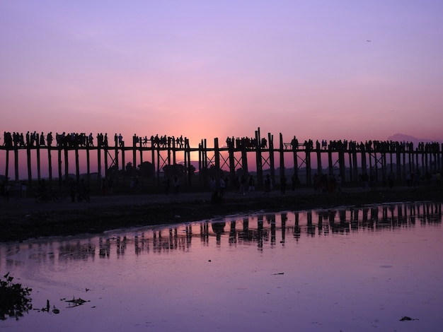 U-bein bridge in myanmar at sunset