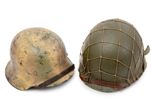 U.s and german world war two military helmets, battle of normandy 1944
