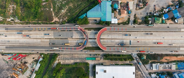 U turn. road traffic on the industrial thailand