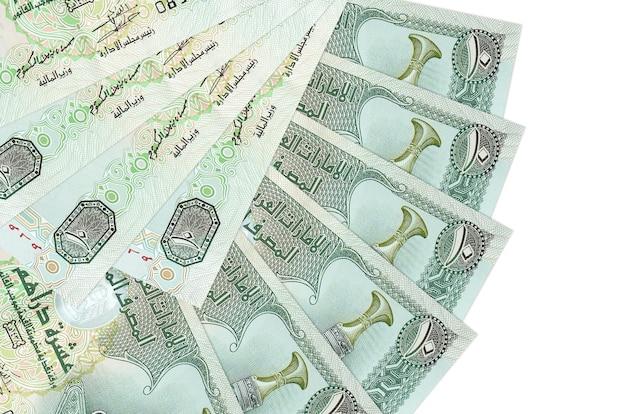 흰색 배경에 uae 디르함 지폐