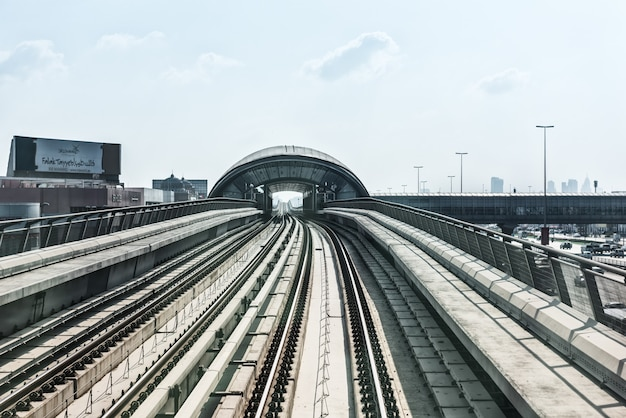 Uae, dubai - december 31: view on subway road on downtown city dubai. united arab emirates