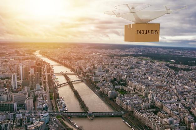 貨物を配達するために街の上を飛んでいるuavドローン