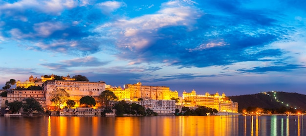 Udaipur city palace in the evening. rajasthan, india