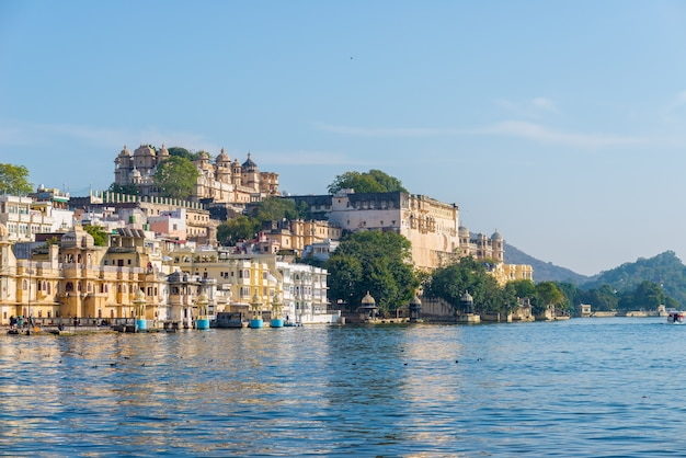Udaipur cityscape at sunset.