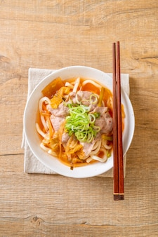 Udon ramen noodle with pork and kimchi