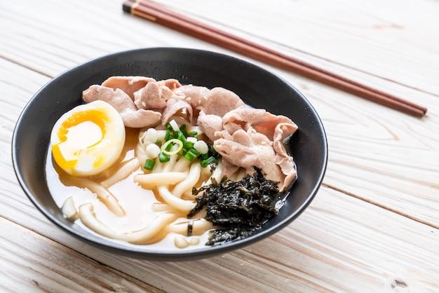 Udon ramen noodles with pork soup
