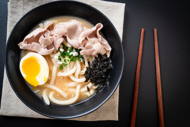 Udon ramen noodles with pork soup