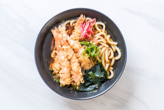 Udon ramen noodles with shrimps tempura