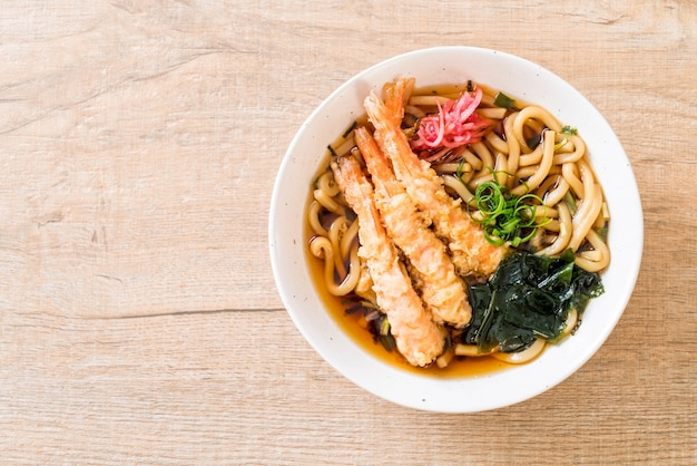 Udon ramen noodles with shrimps tempura