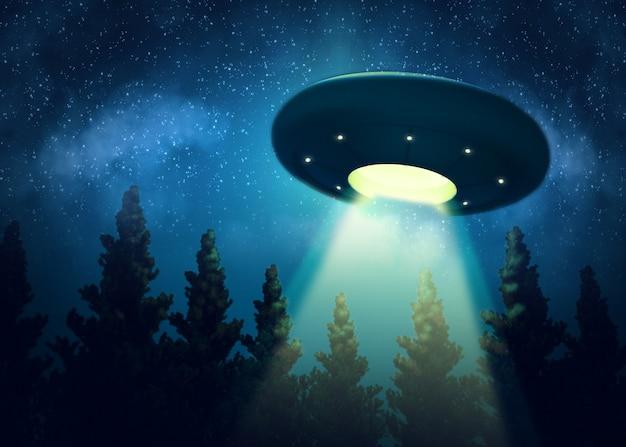 Ufoは木々の上を浮遊しています。デジタルペインティング3d render mix