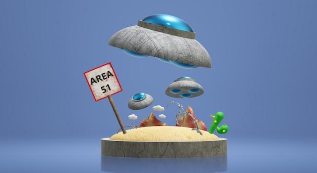 Ufo area 3d rendering