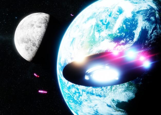 지구와 달을 가로질러 날아가는 ufo. 3d 렌더링. nasa에서 제공한 이 이미지의 요소입니다.