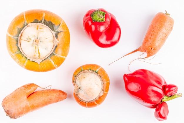 白い背景の上の変異を持つトレンディなugい面白い有機農場野菜