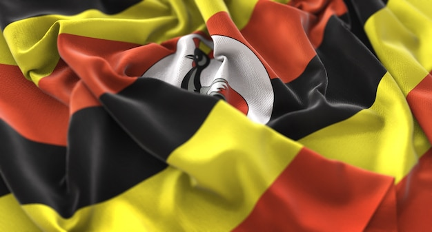 Uganda flag ruffled beautifully waving macro close-up shot