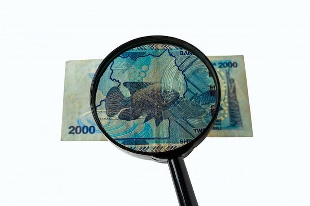 Ugandan shillings bill and magnifying glass