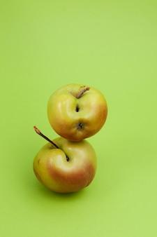 녹색 배경에 결함이있는 못생긴 사과 클로즈업. 선택적 초점, 복사 공간. 개념-음식물 쓰레기 감소. 불완전한 제품 요리에 사용합니다.