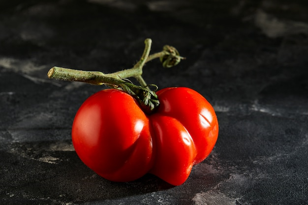 Уродливый фрукт или овощ. сильно уродливый мутантный помидор. продовольственные магазины в основном предпочитают фрукты и овощи самого высокого качества. гадкий фрукт не пользуется большим спросом
