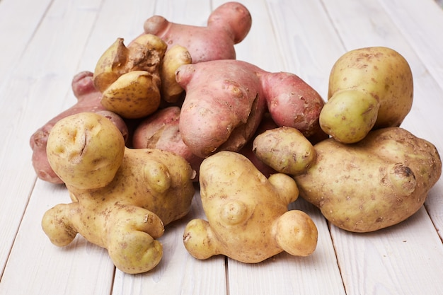 Ugly organic abnormal vegetables, weird potatoes