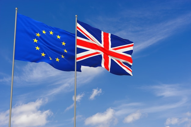 Uk and eu, brexit. united kingdom and european union flags waving opposed on blue sky background. 3d illustration