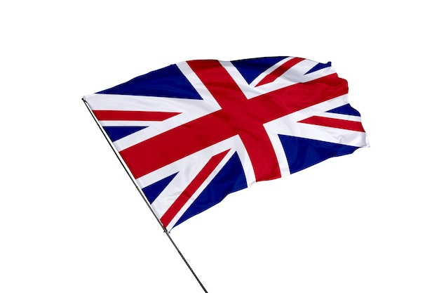 白い背景の上の英国の旗
