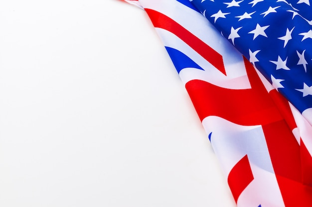 Uk flag and usa flag on white