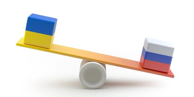 우크라이나와 러시아 갈등. 시소에 국가 플래그 큐브입니다. 3d 일러스트