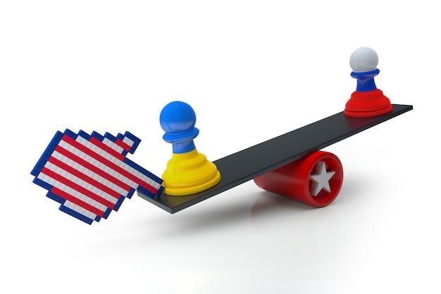 우크라이나와 러시아 갈등. 균형에 체스 폰에 국가 플래그입니다. 중부 유럽에서 발생한 정치적 위기. 3d 그림입니다.