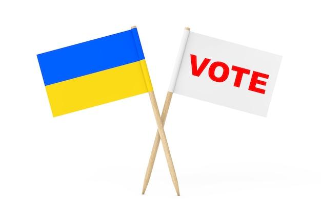 우크라이나 깃발과 흰색 배경에 투표 기호가 있는 흰색 깃발. 3d 렌더링