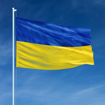 Ukraine flag flying