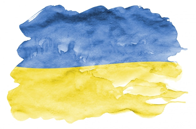 Ukraine flag  is depicted in liquid watercolor style isolated on white