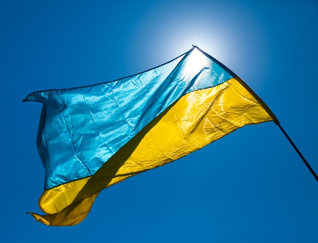 Флаг украины развевается на ветру против голубого неба