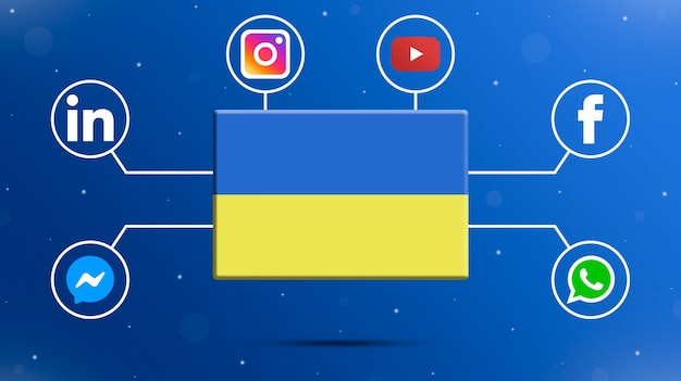 Ukraine flag with social media logos 3d