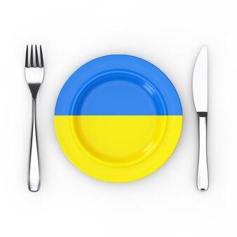 ウクライナ料理または料理のコンセプト。白い背景の上のウクライナの旗とフォーク、ナイフ、プレート。 3dレンダリング