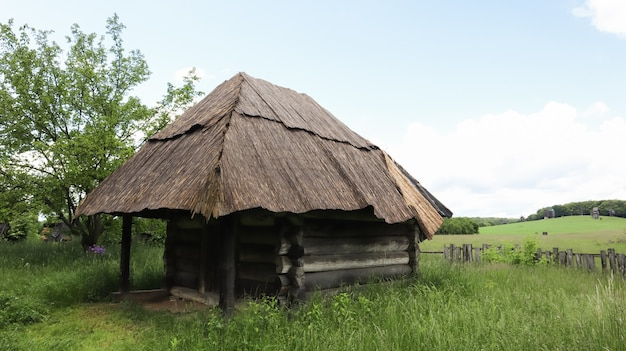 우크라이나, 키예프 - 2020년 6월 11일. 마을에 초가 지붕이 있는 여름에 늙은 농부 우크라이나 집이나 헛간. 우크라이나의 다른 지역의 야외에 있는 피로고보 박물관.